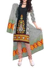 Ethnic Floral Print Cotton Unstitched  Suit Set - Best Collection