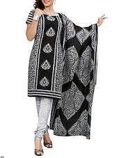 Printed Unstitched Cotton Suit Set - Black Beauty