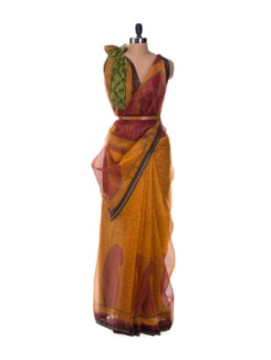 Yellow Paisley Print Saree - ROOP KASHISH