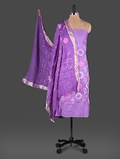 Bandhani Work Purple Traditional Cotton Suit Set - Rajasthani Sarees