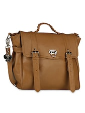 Brown Leatherette satchel -  online shopping for Satchels