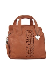 Brown Laser-Cut Leatherette Handbag Cum Sling - By