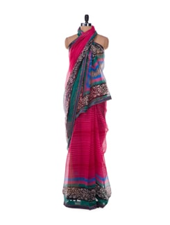 Candy Stripe Pink Powernet Saree - ROOP KASHISH