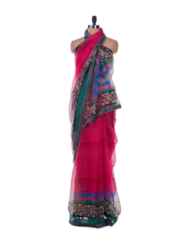 Candy Stripe Pink Powernet Saree - ROOP KASHISH