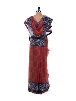 Deep Pink And Dar Blue Peacock Panel Saree - ROOP KASHISH