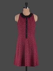 Maroon Bird Printed Peter Pan Collar Dress - Shubhangini