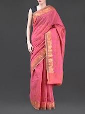 Pink Jacquard Chanderi Cotton Banarasi Saree - Bunkar