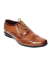 brown leatherette lace up brouge -  online shopping for Brouges