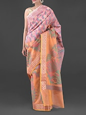 Pink And Orange Moonga Check Saree - Bunkar