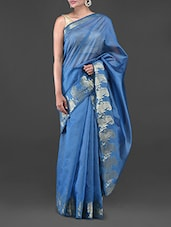 Blue Kota Cotton Saree With Paisley Brocade Border - Bunkar