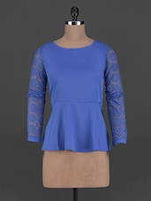 Lace Sleeves Polyester Peplum Top - Oxolloxo