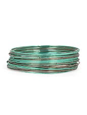 Green And Grey Metal Bangle (Set Of 24) - Honey Collections- By Aryan