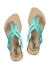 Jade Green Leatherette Flat Sandals - Jade