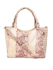 Cream Textured Faux Leather Tote - KIARA