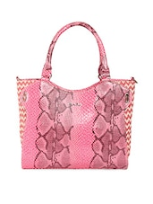 Pink Textured Faux Leather Tote - KIARA