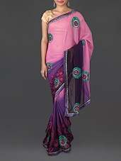 Printed Pink And Purple Art Silk Saree - Shrimatiji Sarees