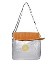 Bling Silver Mustard Velvet Sling Bag - Lass Lee
