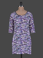 Abstract Printed Round Neck Polycrepe Dress - ABITI BELLA