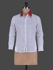 Polka Dots Printed Long Sleeves Cotton Shirt - ABITI BELLA