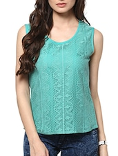 Plain Sleeveless Round Neck Lace Top - ABITI BELLA