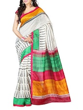 Multicolored Pallu Off-White Printed Art Silk Saree - Pichkaree