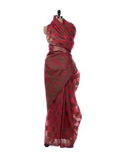 Red And Brown Saree - Bunkar