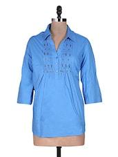 Blue Plain Tucked Beaded Gathers Cotton Top - URBAN RELIGION