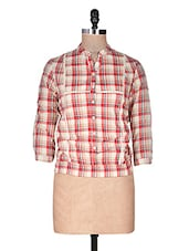 Red Yarn Dyed Checks Cotton Top - URBAN RELIGION
