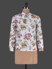 Floral Printed Long Sleeves Polycrepe Top - Harpa
