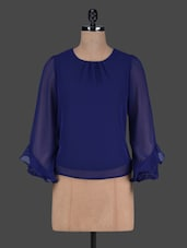 Plain Round Neck Polygeorgette Top - Harpa