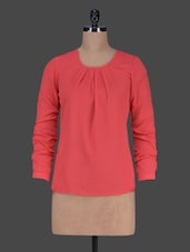 Plain Round Neck Polycrepe Top - Harpa