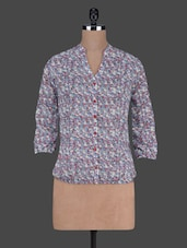 Printed  Three Quarter Sleeves Polygeorgette Top - Harpa