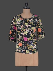 Floral Printed Round Neck Polycrepe Top - Harpa