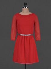 Sequin Belt Round Neck Chiffon Dress - Harpa