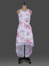 Floral Printed Sleeveless Georgette Asymmetric Dress - Harpa