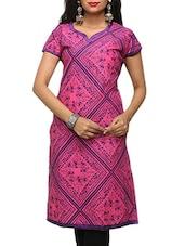 Short Sleeve Pink Printed Kurta - Sutee