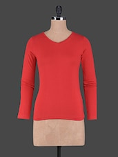 Long Sleeves Plain Cotton Knit Tee - Fashionexpo - 1125814