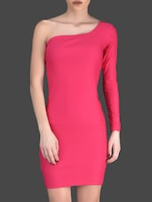 Pink Plain Polyester And Lycra Bodycon Dress - Fashionexpo