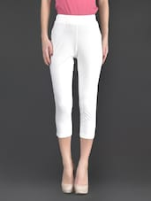 White Plain Cotton And Lycra Ankle Length Leggings - By