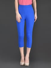 Blue Plain Cotton And Lycra Ankle Length Leggings - Fashionexpo