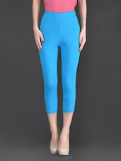 Blue Plain Cotton And Lycra Ankle Length Leggings - Fashionexpo - 1125902