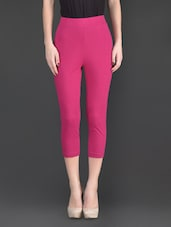 Pink Plain Cotton And Lycra Ankle Length Leggings - Fashionexpo
