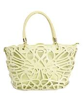 Light Green Laser Cut Handbag Cum Sling - TAKSPIN