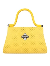 Quilted Sequined Yellow Leatherette Handbag - Kleio