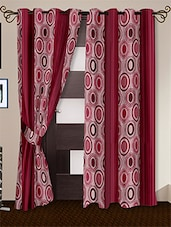 Pink Printed Polyester Door Curtains (Set Of 2) - By - 1126074