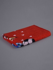 Red Printed Kitty Bath Towel - Firangi