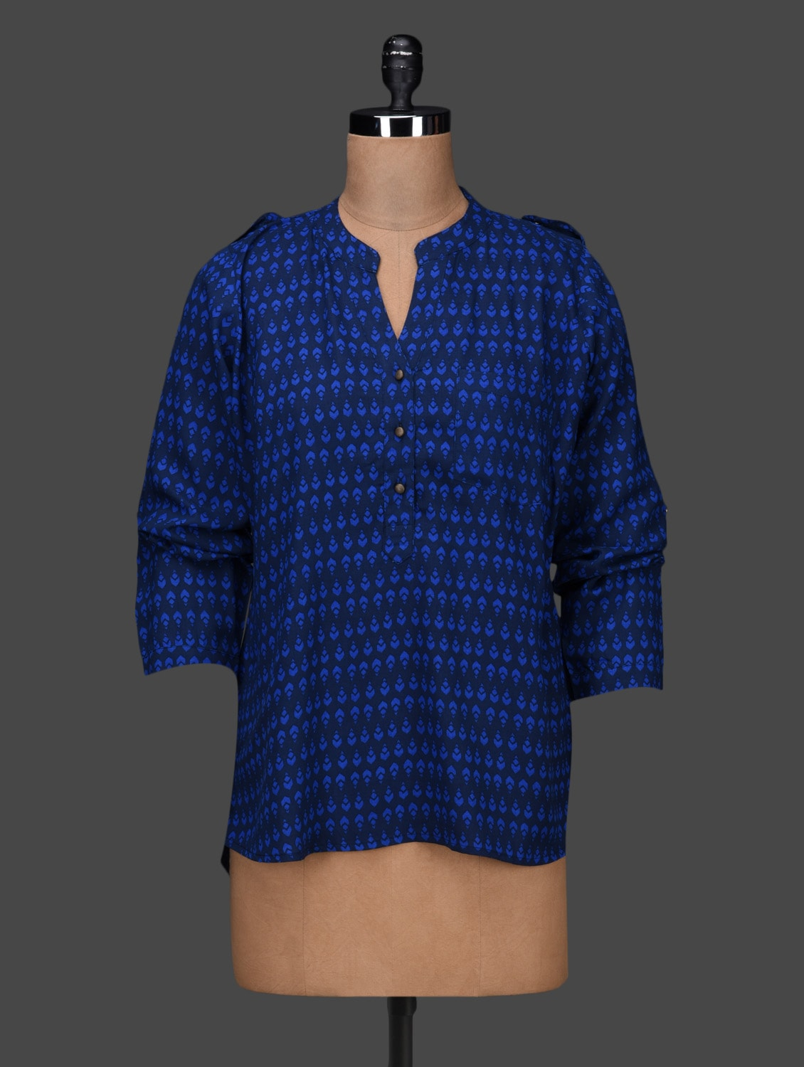 Royal Blue Printed Full Sleeve Top - LQQKE