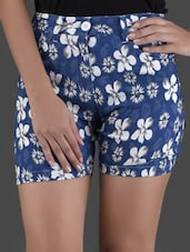 Floral Printed Blue Cotton Shorts - LQQKE