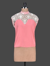 Turtle Neck Lace Yoke Pink Top - By