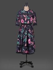 Floral Printed Quarter Sleeve Midi Dress - Aaliya Woman